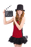 Pretty girl in red polka dot dress with movie board Stock Image