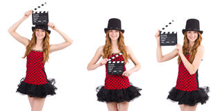 Pretty girl in red polka dot dress with movie board  isolated on Stock Photos