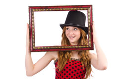Pretty girl in red polka dot   dress with picture Stock Image