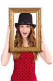 Pretty girl in red polka dot   dress with picture Stock Photos