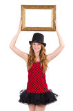 Pretty girl in red polka dot   dress with picture Royalty Free Stock Image