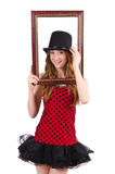 Pretty girl in red polka dot   dress with picture Stock Images