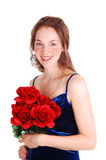 Pretty girl with red roses. Royalty Free Stock Image