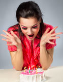 Pretty girl rejoice  in her birthday Royalty Free Stock Images