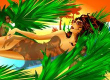 Pretty Girl Relaxing in The African Sunset. An illustration about Relax and Holiday. An elegant jet-set woman relaxing lay down on an hammock between coconut Stock Images