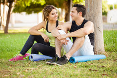 Pretty girl relaxing with her boyfriend Royalty Free Stock Photos