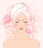 Pretty girl relaxing in spa salon. Spa set: Pretty woman in spa salon in vector format Royalty Free Stock Image