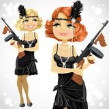 Pretty girl in retro dress with a gun Thompson Royalty Free Stock Images