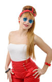 Pretty girl in retro style with blue sunglasses on white Royalty Free Stock Image