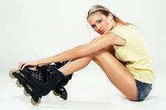 Pretty girl in roller skates Stock Photos
