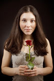 Pretty girl with rose Stock Photos