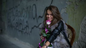 Pretty Girl With Rose. RAW HD Video 2 stock footage