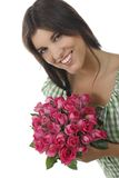Pretty girl with roses. Pretty girl with a bunch of roses Stock Photos