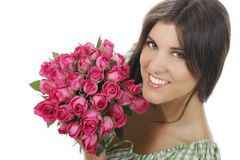 Pretty girl with roses. Pretty girl with a bunch of roses Royalty Free Stock Photography