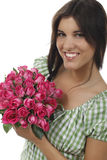 Pretty girl with roses. Pretty girl with a bunch of roses Stock Photo