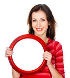 Pretty girl with a round frame Stock Photography