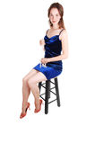 Pretty girl in royal blue dress. Stock Photos