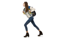 Pretty girl with rucksack isolated on white Stock Image