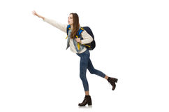 Pretty girl with rucksack isolated on white Stock Photos