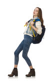 Pretty girl with rucksack isolated on white Royalty Free Stock Photos