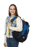 Pretty girl with rucksack isolated on white Stock Images