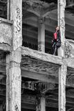 Pretty girl in ruined building. Pretty young model girl posing in ruined building stock photo