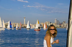 Pretty Girl on a sailboat royalty free stock photography