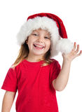Pretty girl in santa claus hat Stock Photo