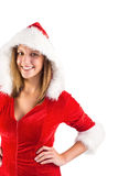 Pretty girl in santa costume looking at camera Lizenzfreies Stockbild