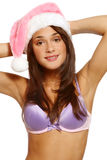 Pretty girl in Santa hat Stock Image