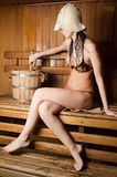 Pretty girl in sauna Royalty Free Stock Images