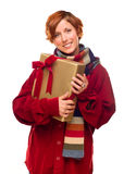 Pretty Girl with Scarf Holding Wrapped Gift Stock Image