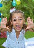 Pretty girl screams into the camera Royalty Free Stock Photography