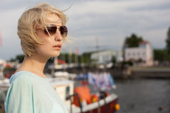 Pretty girl on the sea background Royalty Free Stock Photography