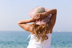 Pretty Girl on the sea Stock Images
