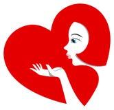 Pretty girl sends an air kiss. Stock Photos