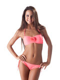 Pretty girl in sexy beach rose swimsuit Royalty Free Stock Photo