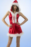 Pretty girl with sexy christmas dress. Portrait of attractive young girl wearing sexy red christmas dress and fur hood in sexy pose looking in camera. xmas Royalty Free Stock Images