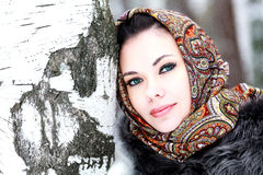 Pretty girl in shawl Royalty Free Stock Images