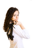 Pretty girl with shoes royalty free stock image