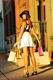 Pretty girl shopping Royalty Free Stock Photos