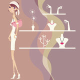 Pretty girl shopping. Pretty little shopping girl in a shop Royalty Free Illustration