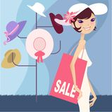 Pretty girl shopping Stock Photography