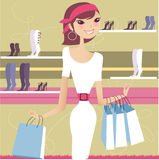 Pretty girl shopping. In a shoes shop Vector Illustration