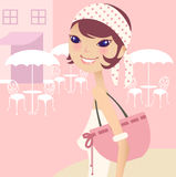 Pretty girl after shopping. On the street royalty free illustration