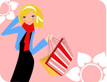 Pretty girl with shopping bag Royalty Free Stock Photography