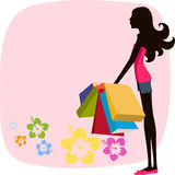 Pretty girl with Shopping Bag Stock Images