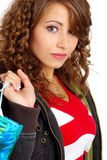 Pretty girl with shopping bag Royalty Free Stock Photo