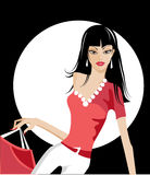 Pretty girl with shopping bags. Cute illustration of a girl in white dress Royalty Free Stock Image