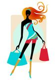 Pretty girl with shopping bags. Cute illustration of a girl in white dress Stock Photo